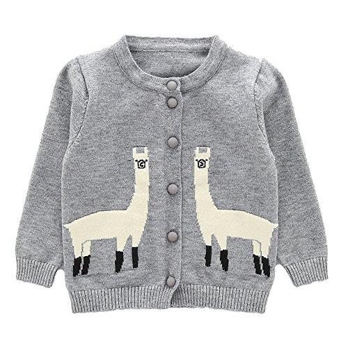 Moonnut Girls Cardigan Sweaters Cute Alpaca Pattern Long Sleeve, Grey, Size 4T (4t Cardigan Sweater)