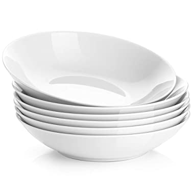 Y YHY 22-Ounce Porcelain Salad/Pasta Bowls, Soup Bowl Set, Shallow & White, Set of 6