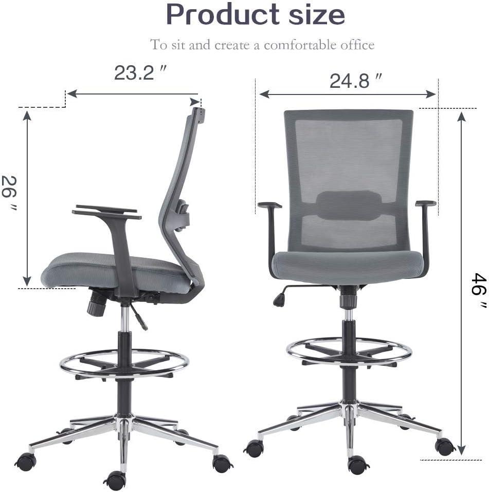 Sunon ergonomischer Bürostuhl hoch Drehstuhl Arbeitsstuhl hochverstellbar Counterstuhl aus Stoff mit Fußring, Rollen und Armlehnen,Belastbarkeit 150kg (Schwarz) Grau