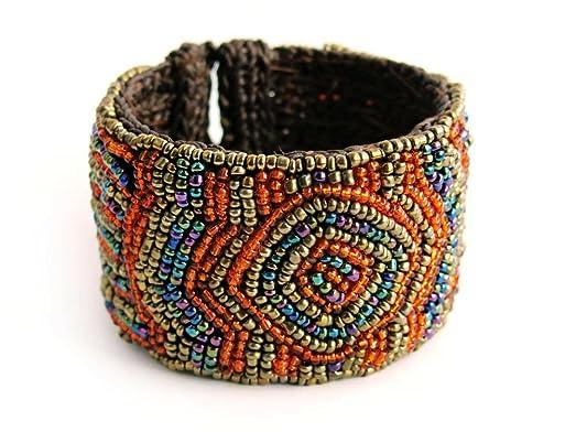 Amazon Exotic Style Marakesh Seed Bead Crochet Cuff Bracelet