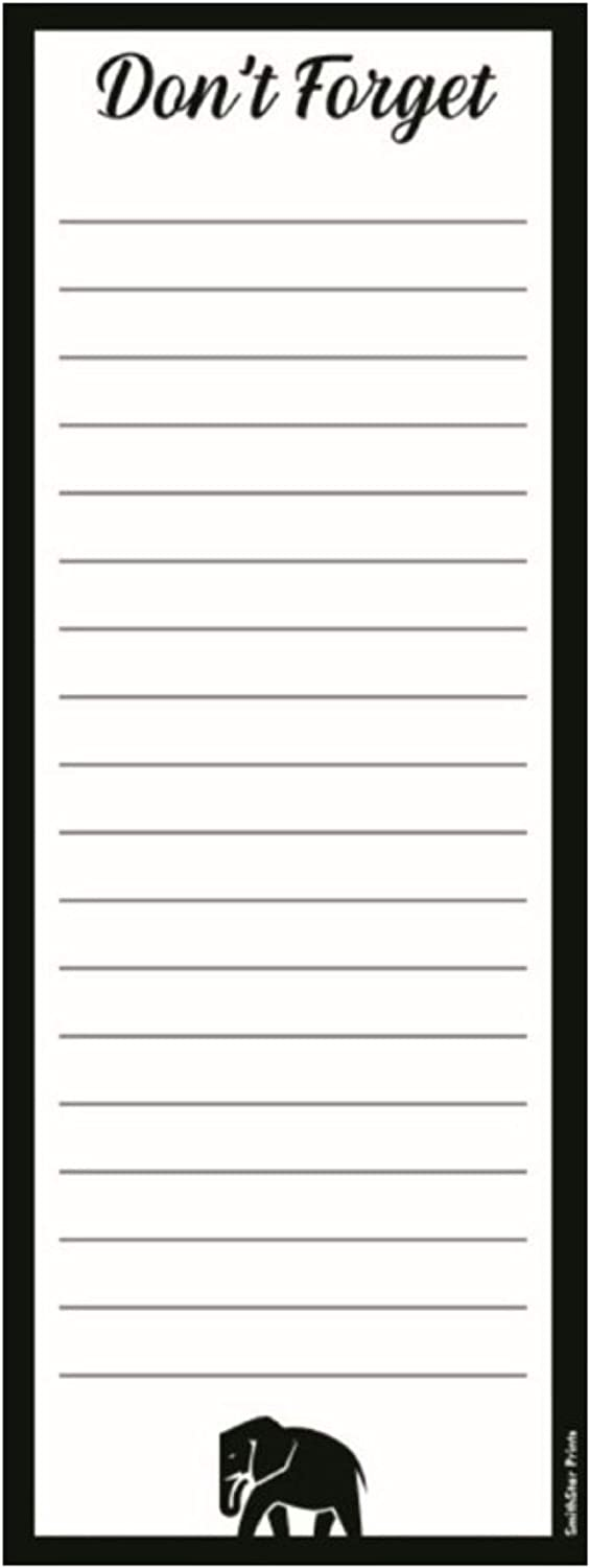 Don't Forget Notepad, Black Elephant – With Magnet | Grocery List, To-Do List, Honey Do List, Funny Gift Idea | 3x8 inches (50 Sheets)