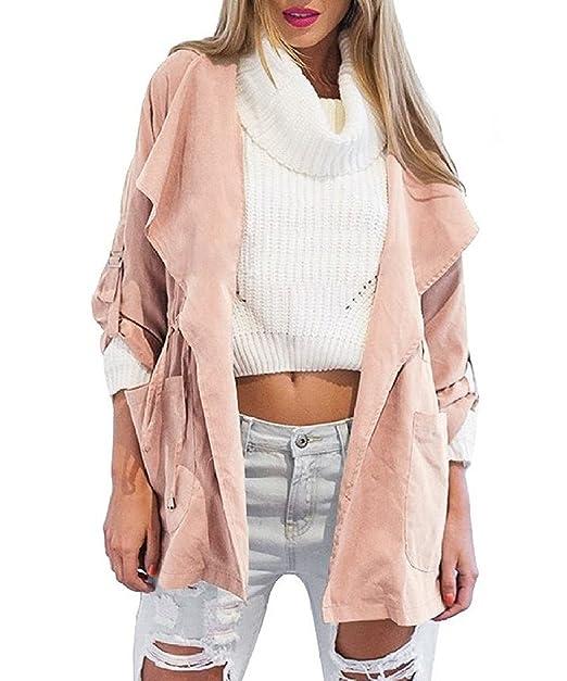 9abd1a603a682 Minetom Otoño Chaqueta para mujer Abrigo Manga Larga con Capucha Coat Jacket  Gris claro ES 40  Amazon.es  Ropa y accesorios