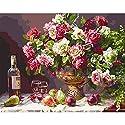 susada no-framed DIYペイントby Numbers油彩画ホームオフィス装飾花ワインボトルの商品画像