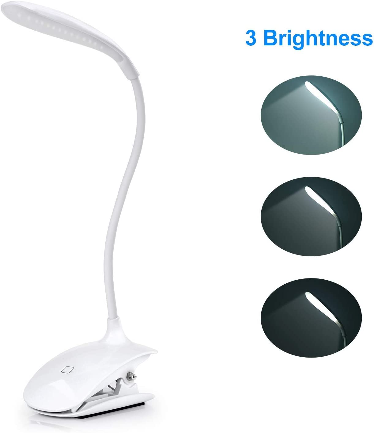 White ADORIC LED Reading Lamp Rechargeable Book Lamp with USB Cable 3 Levels of Brightness