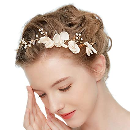 Tocado de Novia Tela Flores Cristal Perla Tiara Boda Diademas Mujer Joyería  Accesorios de Pelo Fiesta a36232e036f1