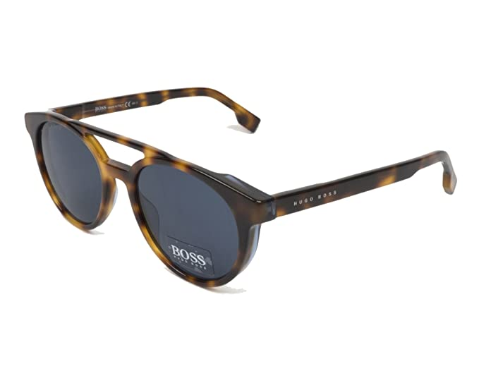bc91505686a Hugo Boss BOSS 0972 S IPR Havana Blue BOSS 0972 S Round Sunglasses Lens  Categ  Amazon.co.uk  Clothing