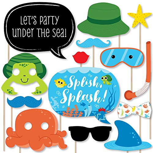 Big Dot of Happiness Under The Sea Critters - Birthday Party or Baby Shower Photo Booth Props Kit - 20 Count