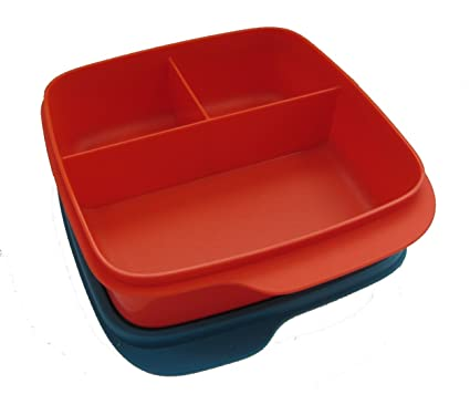 Tupperware – Fiambrera recipiente con separador 550 ml Fiambrera kindi Escuela inteligente Pause Rojo/Azul