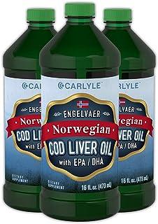 Carlyle Cod Liver Oil Norwegian 16 fl oz 3 Bottles – Non-GMO, Gluten