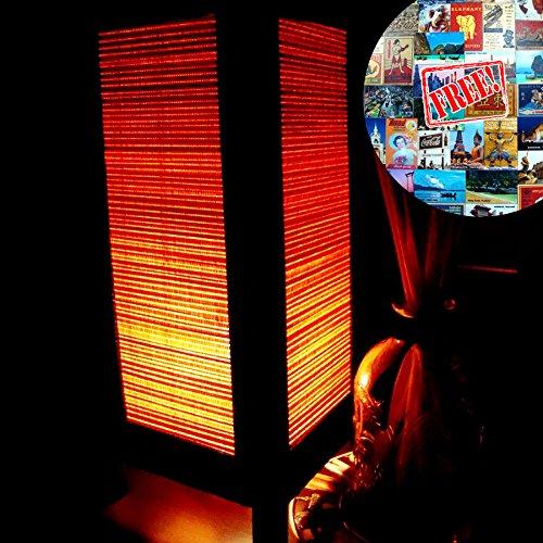 173 Adapter (Orange Bamboo Table Lamp Night Light Lighting Shade Floor Desk Outdoor Touch Room Bedroom Modern Vintage Handmade Asian Oriental Wood LED Bedside Gift Art Home Garden Christmas; Free Adapter; Us 2 Pin Plug #173)