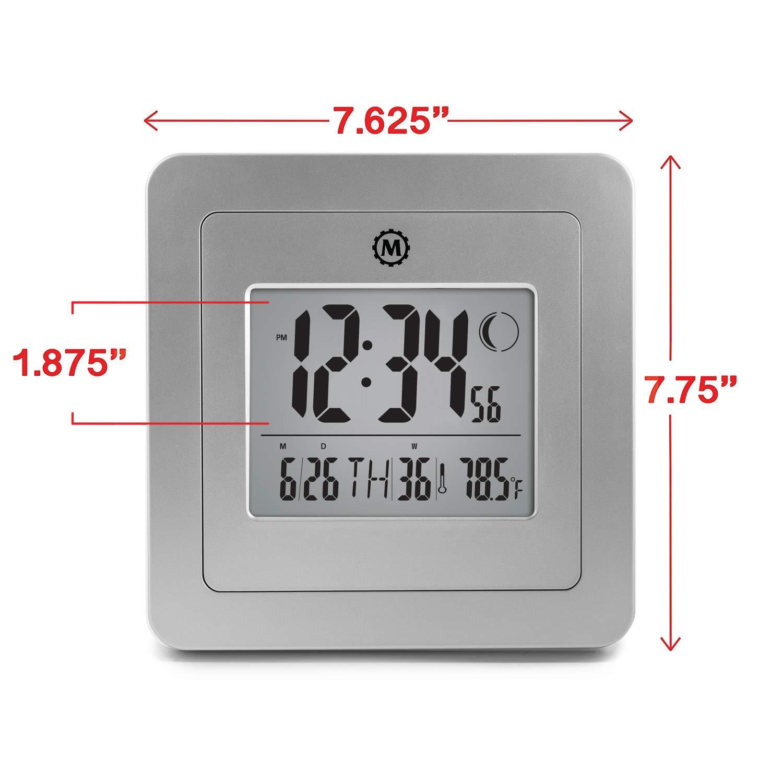 Num/éro de Semaine Alarme et Phases de la Lune Temp/érature Blanc/ Date /Piles incluses Blanc Marathon Cl030049/Digital Horloge Murale avec Jour