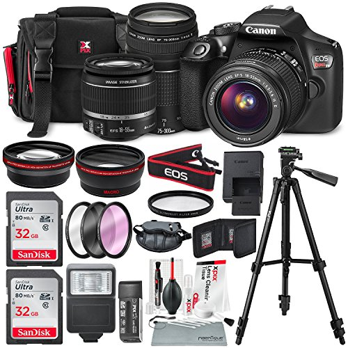 Canon EOS Rebel T6 DSLR Camera with EF-S 18-55mm f/3.5-5.6 IS II Lens, EF 75-300mm f/4-5.6 III Lens, 64GB, along with Fibertique Cleaning Cloth, and Xpix cleaning Kit and Deluxe Accessory Bundle from Photo Savings