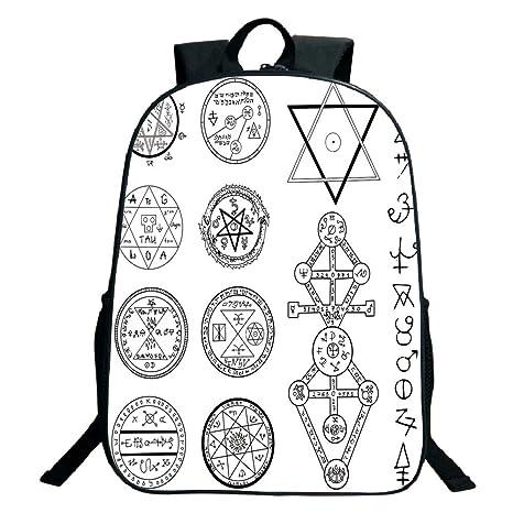 ece5b67c626c Amazon.com: 3D Print Design Black School Bag,backpacksOccult Decor ...