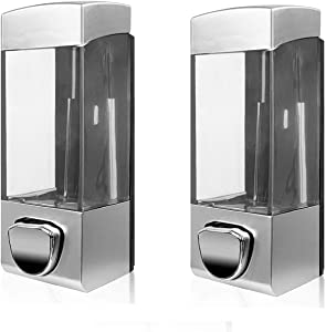 NANA Wall Mounted Shampoo Soap Shower Dispensers with 350ml Refillable Bottles, for Hotels, Offices, Homes and Other Facilities (2-Silver White)