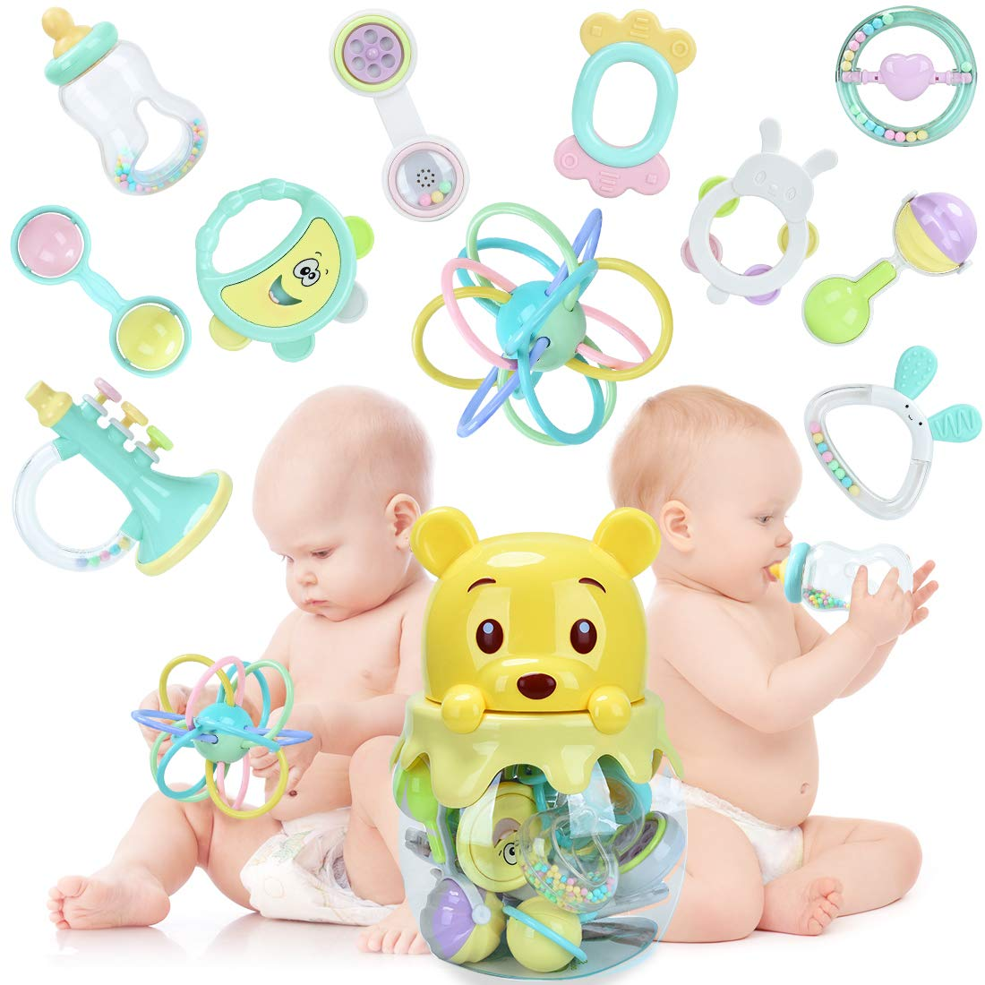 FORSTART 11pcs Baby Rattles Teether, Shaker, Grab Spin Rattles Teething Toys Set BPA-Free Silicone 3 6 9 12 Month Early Education Musical Sounds Infants Newborn Toddlers Play Bear Jar Bottle by FORSTART