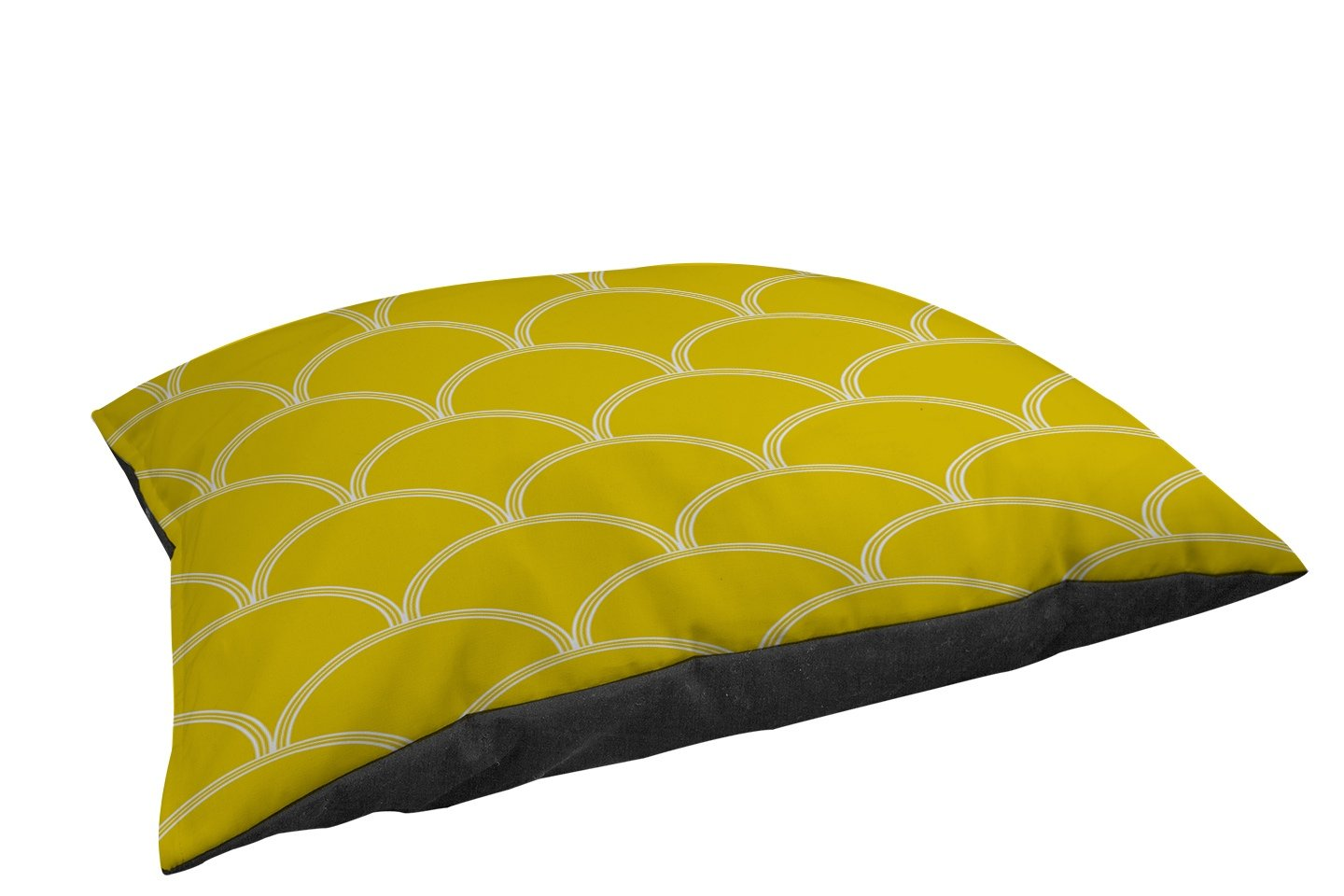 Manual Woodworkers & Weavers Fleece Top Toy or Small Breed Pet Bed, Art Deco Circles Yellow and White