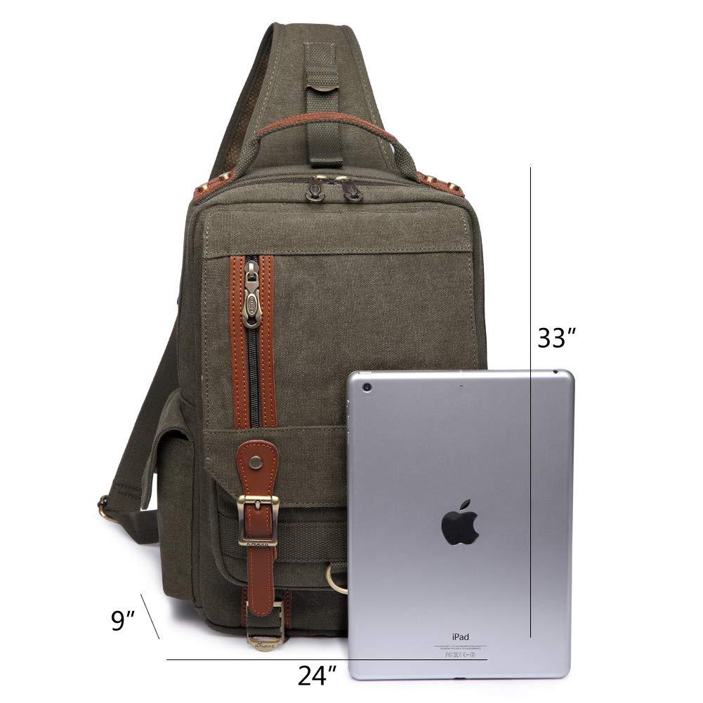 KAUKKO Canvas Messenger Bag Cross Body Shoulder