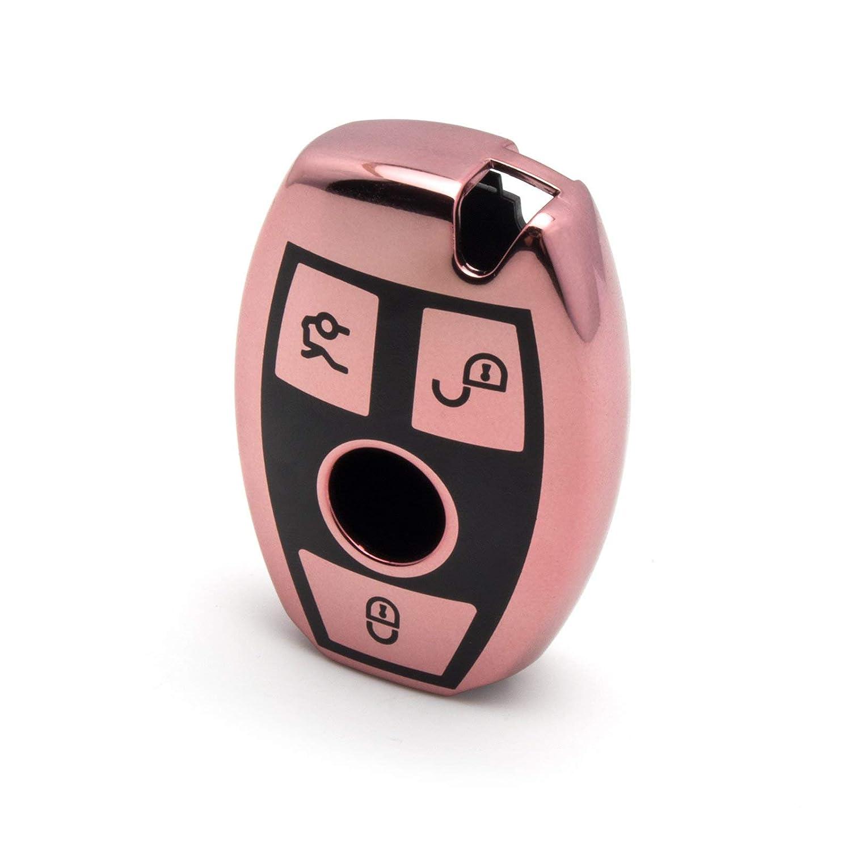 Rose Gold Full Sealed Soft TPU Remote Smart Key Fob Case for Mercedes Benz C E G S M CLS CLK Class Xotic Tech for Mercedes Benz Key Fob Cover