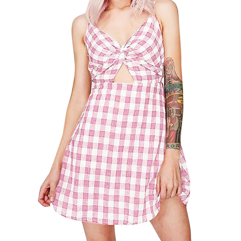 38439ebafe Hotkey® Clearance Women Dresses On Sale Lattice Cocktail Party Evening Mini Dress  Beach Sundress for