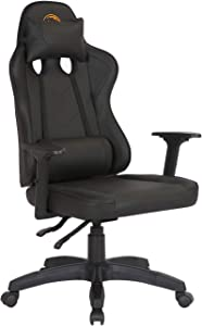 CIMOTA Black Gaming Chair for Adults PC Ergonomic Office Computer Chair Reclining Racing Chair High Back PU Leather Game Chair with Headrest Lumbar Pillow
