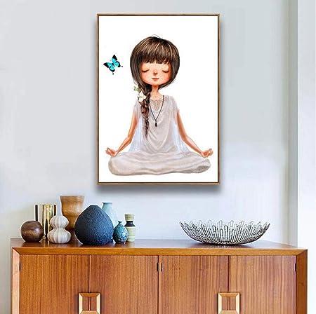 ycmjh Nordic Life Cute Yoga Girl poster-40x50cm_Framed ...
