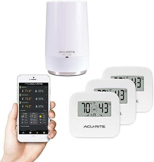 Higr/ómetro Inal/ámbrico SensorPush para iPhone //Android Term/ómetro /¡Aplicaci/ón disponible en espa/ñol! Sensor Inteligente de Humedad y Temperatura con Alarmas