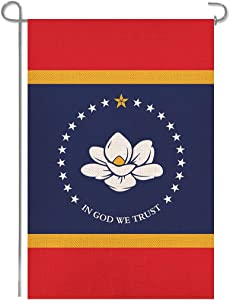 Shmbada Magnolia New Mississippi State Burlap Garden Flag, in God We Trust, Double Sided Home Decor Outdoor Outside Decorative Small Flags for Yard Lawn Patio Porch Farmhouse, 12.5 x 18.5 Inch