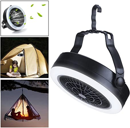 Farol LED de camping 2 en 1 con batería para ventilador de camping con gancho para tienda de campaña con ventilador de techo para interiores y exteriores, senderismo, camping, emergencias, salidas: Amazon.es: