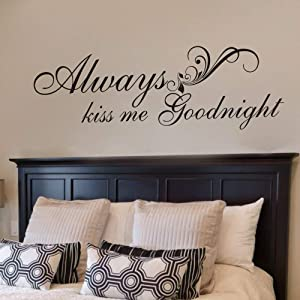 FlyWallD Wall Decal Warmly for Bedroom Quote-Always Kiss Me Goodnight Art Vinyl Decor