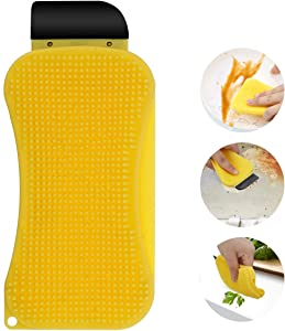 3-in-1 Silicone Sponge,CAMTOA Multi-Functional Cleaning Sponge Built-in Soap Scrubber Scraper Clean Brush for Kitchen Dishes Bathroom Car Wash Cleaning Supplies