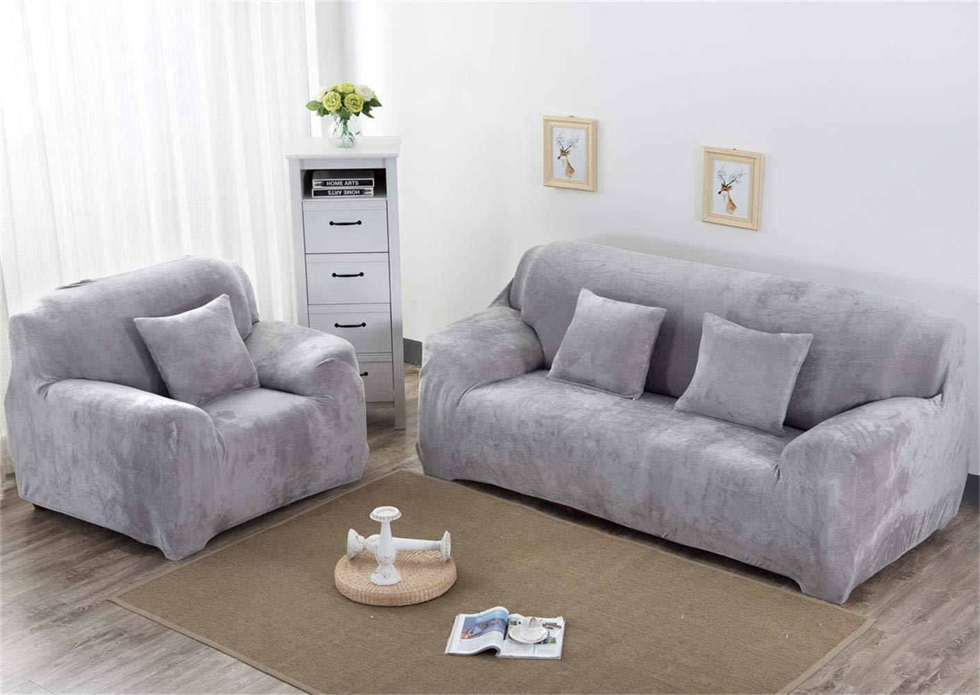 Aisaving Funda de sofá Gruesa de Terciopelo 1 2 3 4 plazas Funda de sofá elástica Antideslizante para Silla de Paseo o sofá, Gris Claro, 4 ...