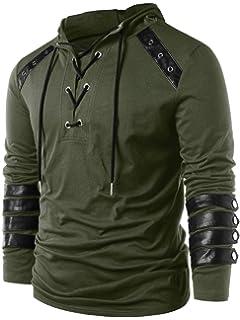 5224baa73daca Kenancy Men s Drawcord Lace Up Pullover Hoodie Plus Size Long Sleeve Casual  Sweatshirt