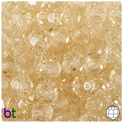 (BeadTin Champagne Transparent 12mm Faceted Round Craft Beads (150pcs))