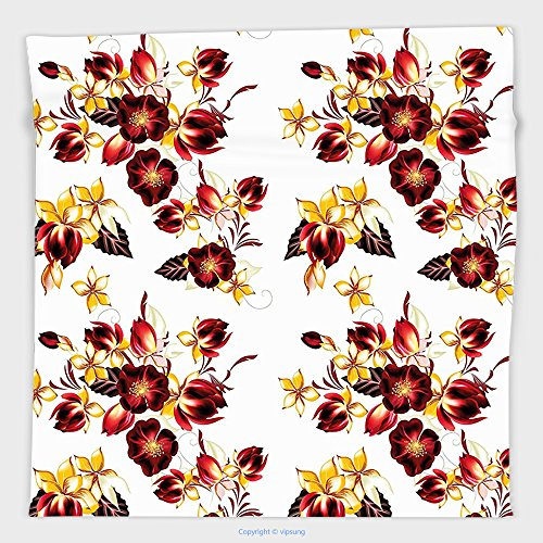Vipsung Microfiber Ultra Soft Hand Towel-Flowers By Floral Decor Seamless Wallpaper Pattern With Flowers Decorative Design Print Yellow Burgundy For Hotel Spa Beach Pool Bath - Madeira Bath