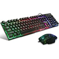 BAKTH Multiple Color Rainbow LED Backlit Mechanical Feeling USB Wired Gaming Keyboard and Mouse Combo for Working or Game