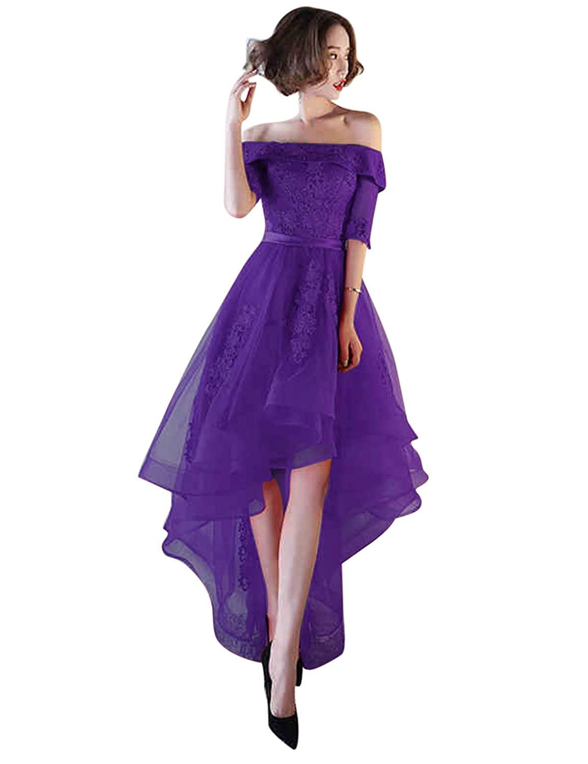 Purple BessWedding Women's Tulle High Low Homecoming Dresses Short 2018 Formal Prom Gown BHZ707