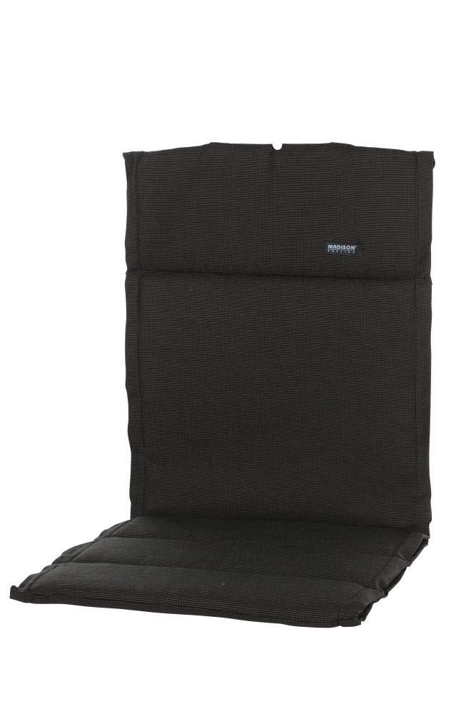 Madison 6 Stück Dessin Rib Sitzpolster, Sitzauflage für Stapelstuhl, Stapelsessel niedrig, Niedriglehner 100% Polyester, 100 x 50 x 4 cm, in schwarz
