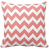 Coral And White Chevron Pillow Personalized 18x18 Inch Square Cotton Throw Pillow Case Decor Cushion Covers by shannon fry