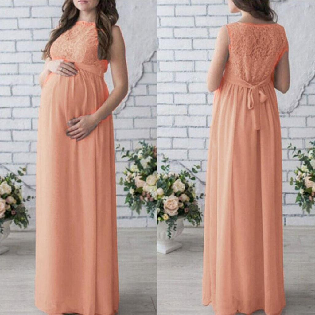 JIANGfu maternity photography props maxi Maternity gown Lace DressDress Fancy shooting photo summer pregnant dress Wine, L2