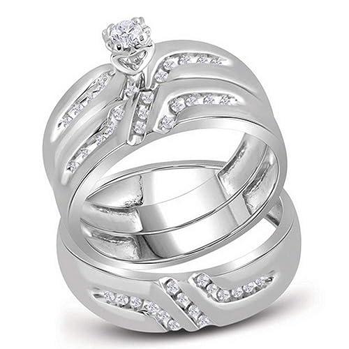 14 K oro blanco Trio His & Hers redondo diamante solitario novia juego anillos de boda