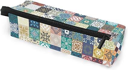 Estuche para gafas con diseño de mosaico de patchwork, portátil, caja suave para mujeres y niñas, con cremallera, soporte para gafas de sol, estuche para cosméticos, estuche de almacenamiento: Amazon.es: Oficina y