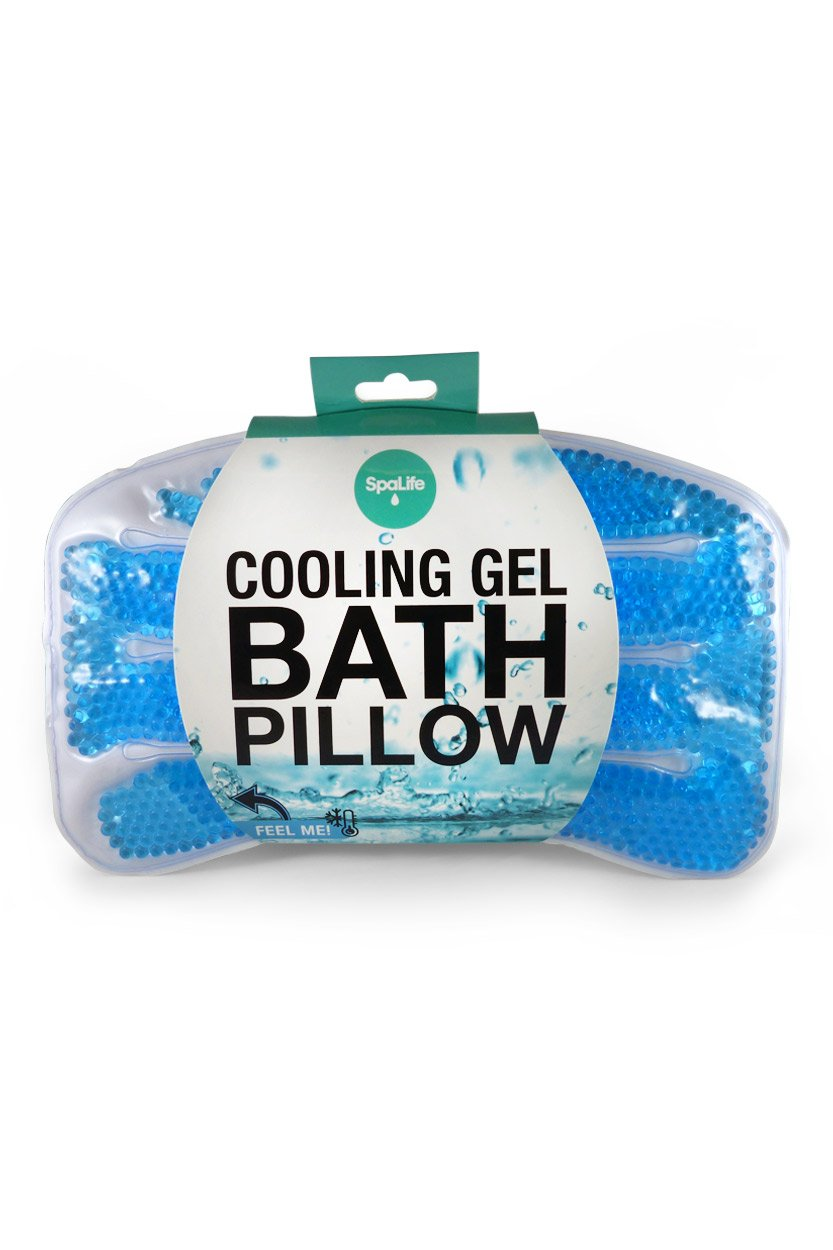 Spa Life Non-Slip Cooling Gel Bath Pillow with Suction Cups, Supports Neck and Shoulders