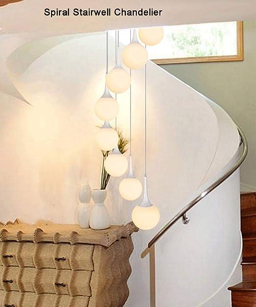 Arte 8 Luces Espiral bola escalera larga de la lámpara moderna minimalista de cristal blanca luz