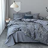 VClife Galaxy Universe Bedding Sets Twin Cotton Duvet Cover Grey Bedding Comforter Cover for Unisex, Great Bed Sets as Gift for Boy Girl Woman Man Families Friend, Zipper Closure Corner Ties, Twin