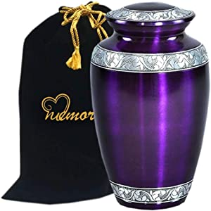 Mulberry With Silver Band Cremation Urn for Human Ashes - Funeral Urn Handcrafted - Affordable Urn for Ashes - Large Urn With Bag