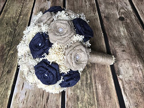 Burlap Bridal Bouquet in Navy & Natural Medium Bridal 23 Flower Bouquet 10'' wide - 1 bouquet per quantity - choose specific size at checkout. Navy Bouquets, Rustic Bouquets, Burlap Wedding Bouquets