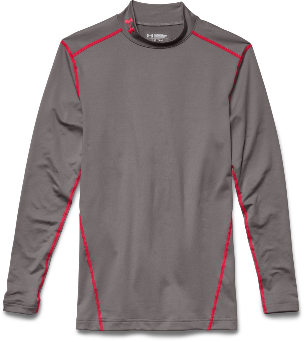 Under Armour Men's ColdGear Armour Compression Mock Long Sleeve Shirt, Tan Stone /Red, Small