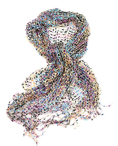 NYFASHION101 Women's Metallic Thread Confetti Net Tassel Ends Scarf Shawl Wrap