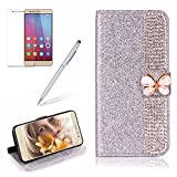 Girlyard For Huawei P10 Lite Wallet Case,Bling 3D Premium Luxury Diamond PU Leather Magnetic Closure Cover+Soft TPU Inner Bumper Anti-Scratch Full-Body Protective Case for Huawei P10 Lite-Silver