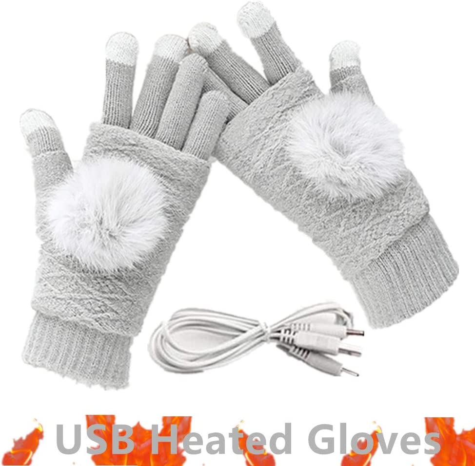 Women's & Men's USB Heated Gloves Mitten Winter Hands Warm Laptop Gloves, Pom Pom Knitting Hands Full & Half Heated Fingerless Heating Warmer Washable Design (Gray)